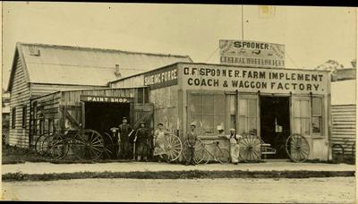 Print, Photographic, Spooner Farm Implement Coach & Wagon Factory, Tauranga