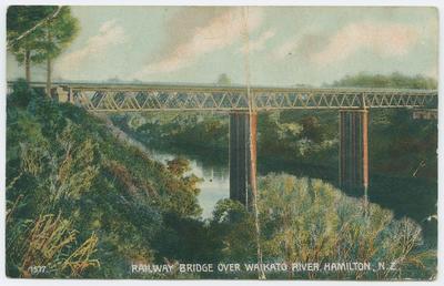 Postcard, Railway Bridge, Hamilton
