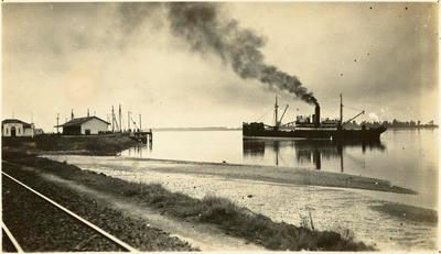 Print, Photographic, Steamer, Railway Wharf, Tauranga Harbour