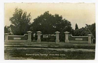 Postcard, Tauranga Domain, Memorial Gates, WW1