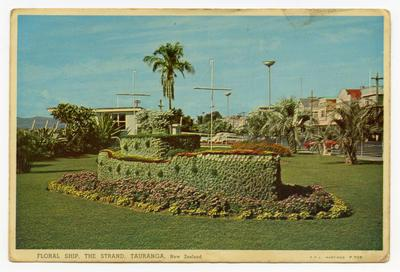 Postcard, Floral Ship, The Strand, Tauranga