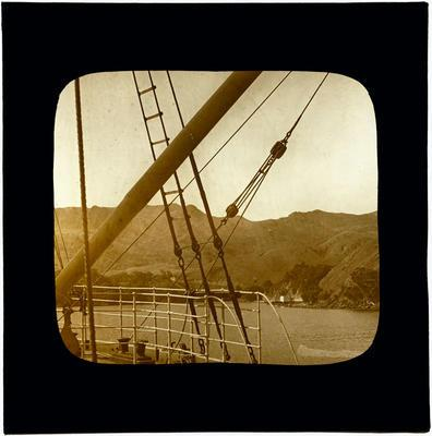 Glass Lantern Slide, View of Shoreline from Deck of Ship