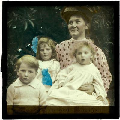 Glass Lantern Slide, Mrs Hamlin and family