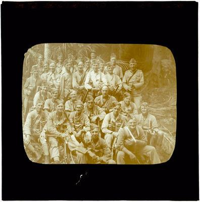 Glass Lantern Slide, Company of soldiers in uniform
