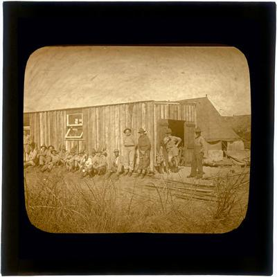 Glass Lantern Slide, Group of Soldiers against building