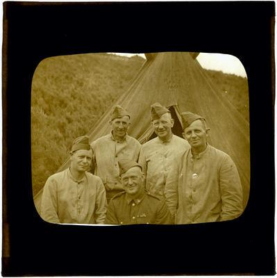 Glass Lantern Slide, Group of Soldiers outside tent