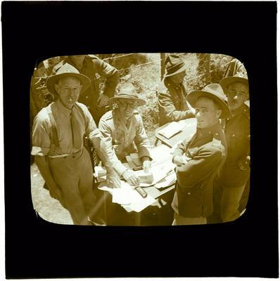 Glass Lantern Slide, Group of soliders around desk