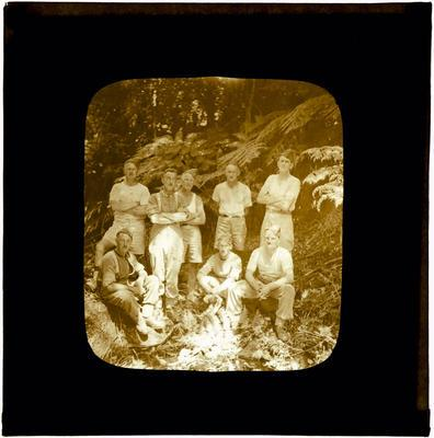Glass Lantern Slide, Group of soliders in bush