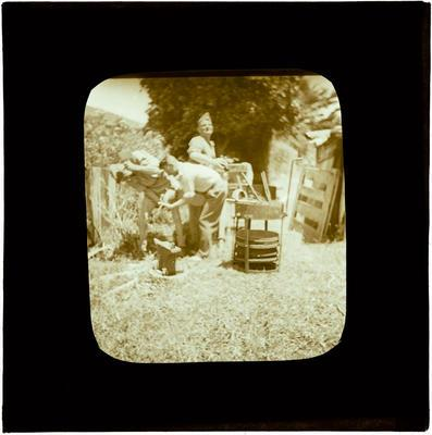 Glass Lantern Slide, Group of soliders working a forge