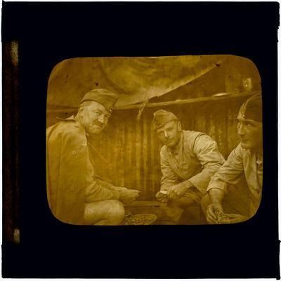 Glass Lantern Slide, Three Soldiers