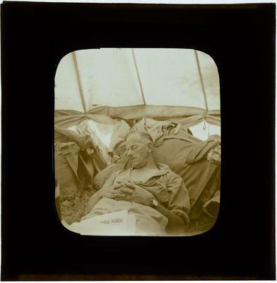 Glass Lantern Slide, Soldier asleep in tent