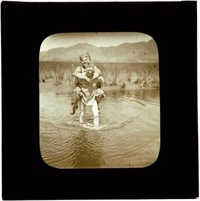Glass Lantern Slide, Soldiers crossing a river