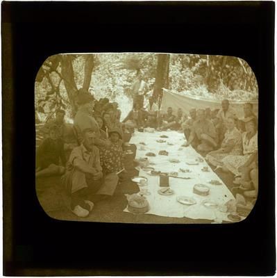 Glass Lantern Slide, Soldiers and civilians at outdoors picnic