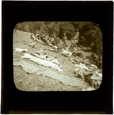 Glass Lantern Slide, Soldiers and equipment on bank