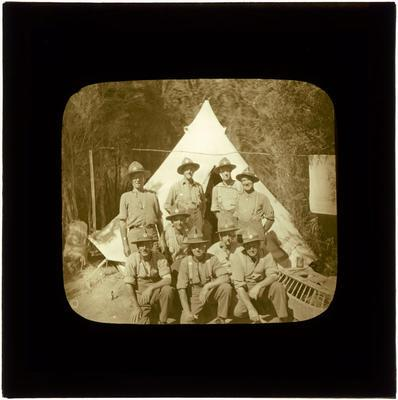 Glass Lantern Slide, Soldiers in front of tent