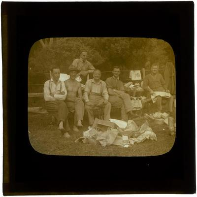 Glass Lantern Slide, Soldiers upwrapping and reading mail