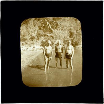 Glass Lantern Slide, Men in bathing trunks