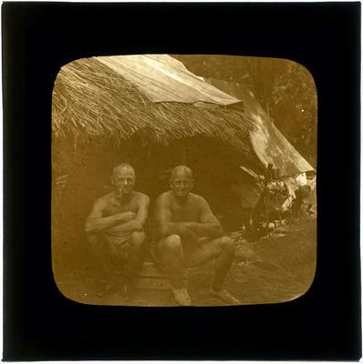 Glass Lantern Slide, Men seated outside