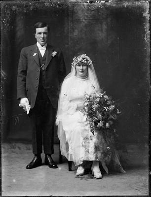 Glass Plate Negative, Bridal couple