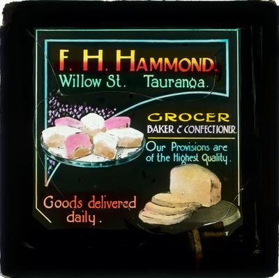 Square glass plate theatre advertising slide, F. H. Hammond
