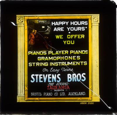 Square glass plate theatre advertising slide: Stevens Bros