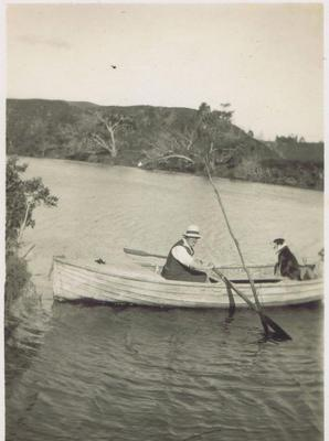 Print, Photographic, Man and dog in boat