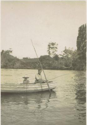 Print, Photographic, Man and child in boat