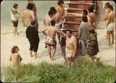 Print, Photographic, Launching Te Awanui waka, Tauranga