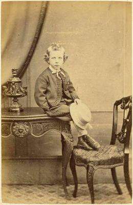 Print, Photographic, Boy seated on table