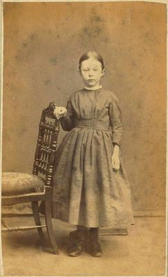 Print, Photographic, Girl standing by chair