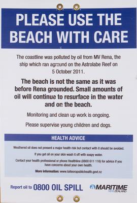 Sign, Rena Disaster