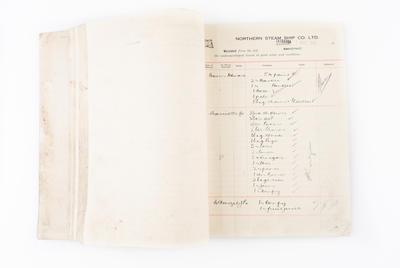 """Ledger, Northern SS.Co, """"Otimai"""", """"Ranginui"""", """"Waiotahi"""", """"Motu"""", """"Wairua"""" and """"Kapiti"""""""