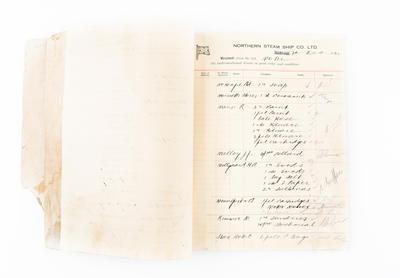 "Ledger, Northern SS.Co., ""Ranginui"", ""Otimai"", ""Motu"", ""Kapiti"", ""Wairua"""