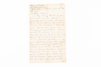 Letter, Tarawera Eruption