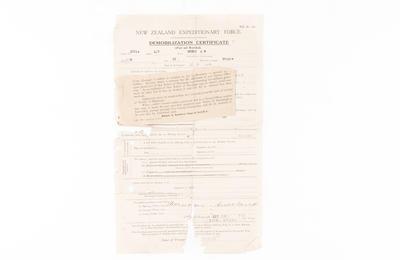 Demobilization Certificate, WW1