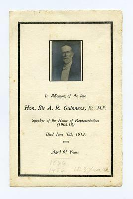 Print, Photographic, Memorial Card, Hon. Sir A. R. Guinness Kt., MP